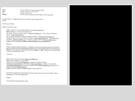 The Courier Journal requested emails between Gov. Matt Bevin and Technology Chief Charles Grindle. The state sent back 485 pages of emails, 466 of which were blacked out. Here's what some of that looked like.