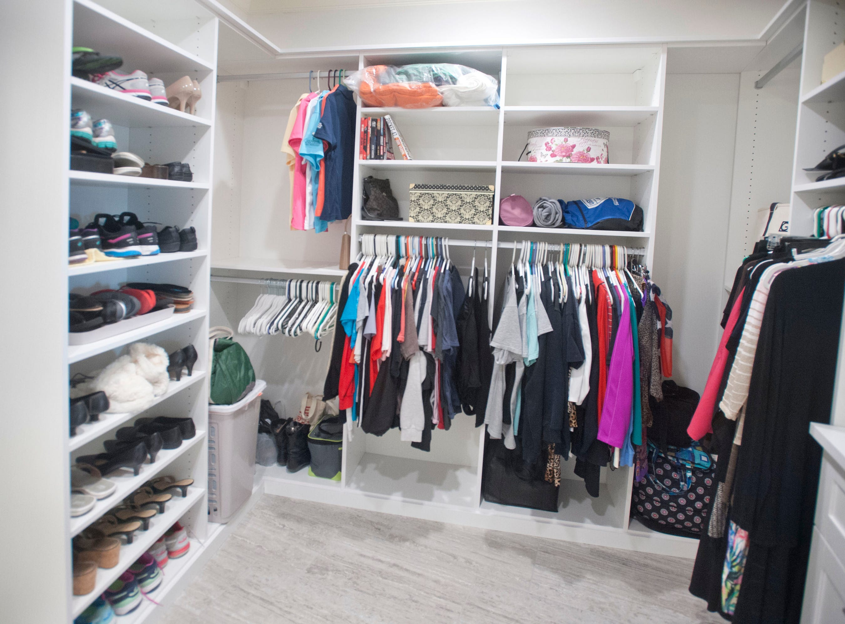 The walk-in closet in the condominium of Denise Puthuff.