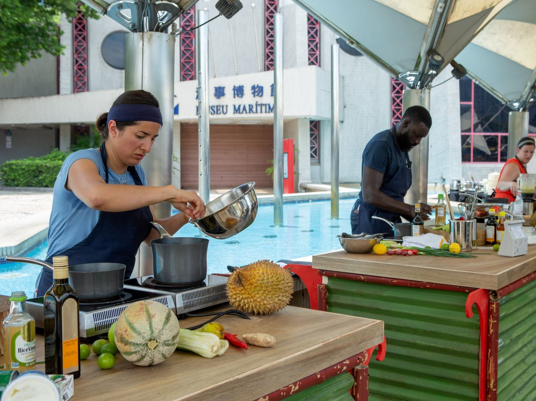 "(From left): Contestants Michelle Minori, Eric Adjepong and Sara Bradley on ""The Tao of Macau,"" episode 14 of Bravo's 'Top Chef:' Kentucky season."