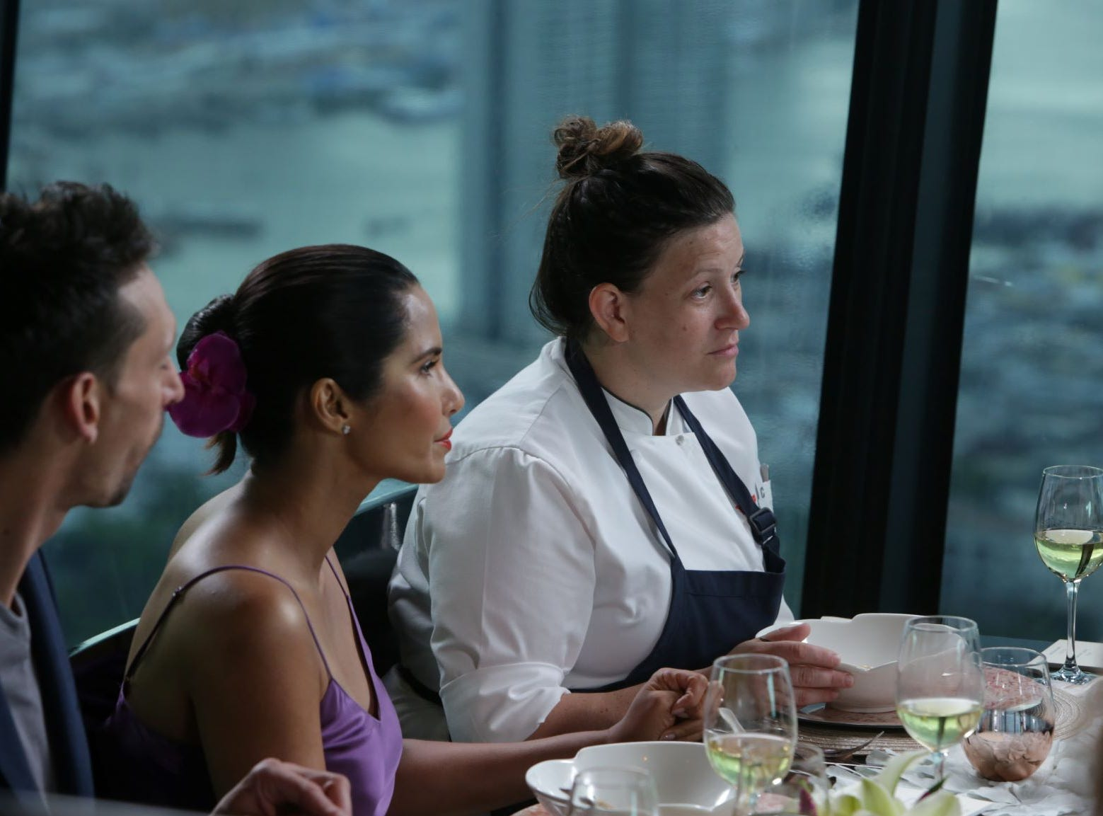 "(From left to right): Host Padma Lakshmi and contestant Sara Bradley on ""The Tao of Macau,"" episode 14 of Bravo's 'Top Chef:' Kentucky season."