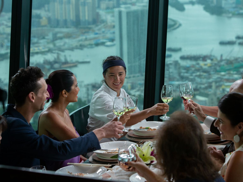 "Contestant Michelle Minori shares a toast on ""The Tao of Macau,"" episode 14 of Bravo's 'Top Chef:' Kentucky season."