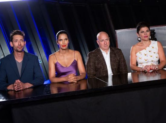 """(From left to right): Guest judge Abe Conlon, host Padma Lakshmi, and judges Tom Collicchio and Nilou Motamed on """"The Tao of Macau,"""" episode 14 of Bravo's 'Top Chef:' Kentucky season."""