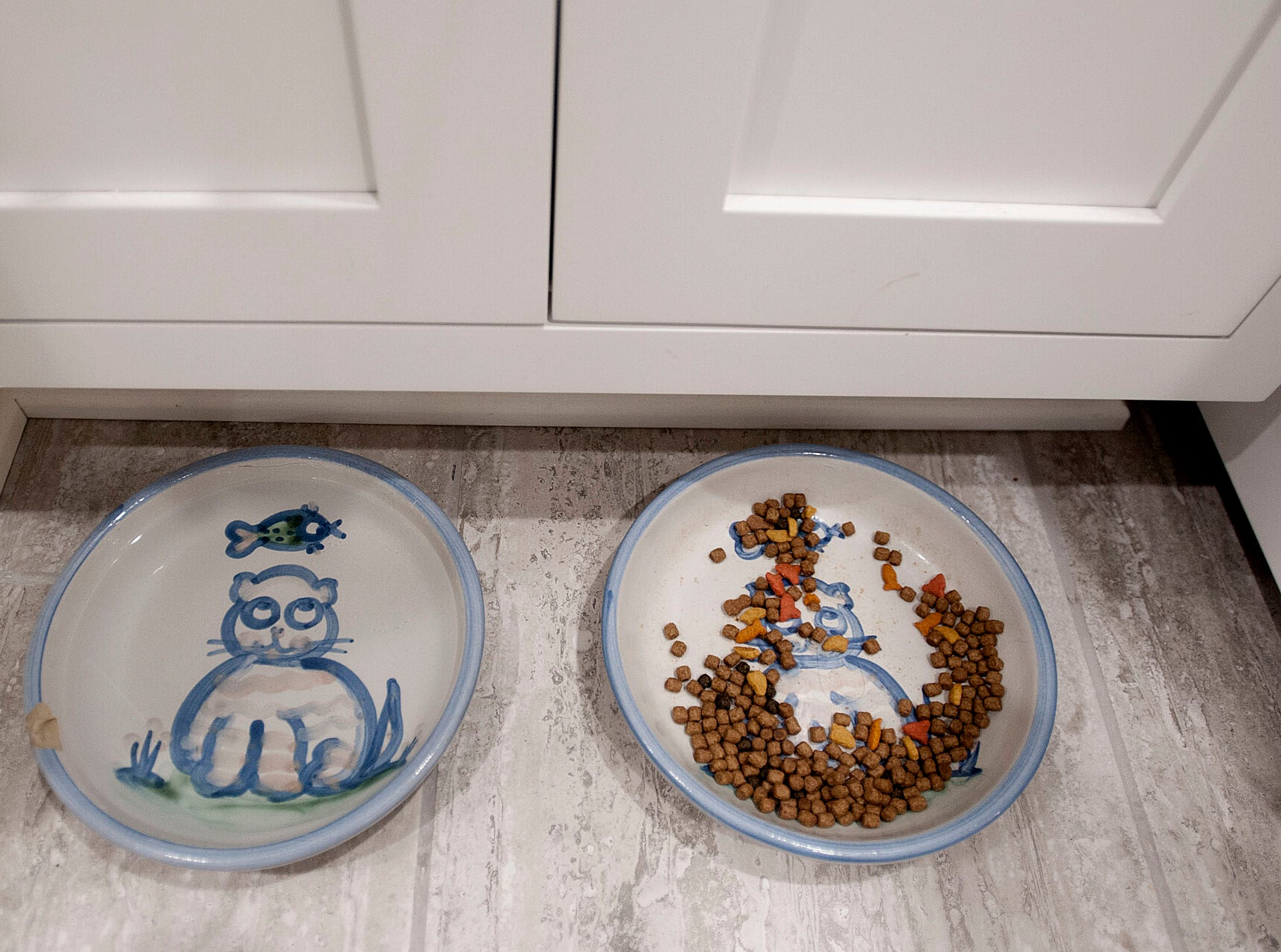Olive's water and kibble bowl are located at the bottom of the laundry room sink. The bowls were made by M.A. Hadley, in Louisville.