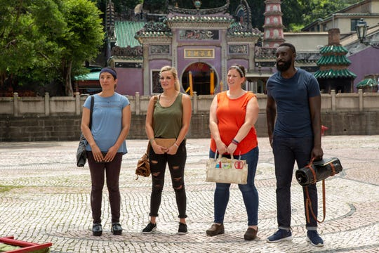 (From left to right): Contestants Michelle Minori, Kelsey Barnard, Sara Bradley and Eric Adjepong on episode 14 of Bravo's 'Top Chef:' Kentucky season.