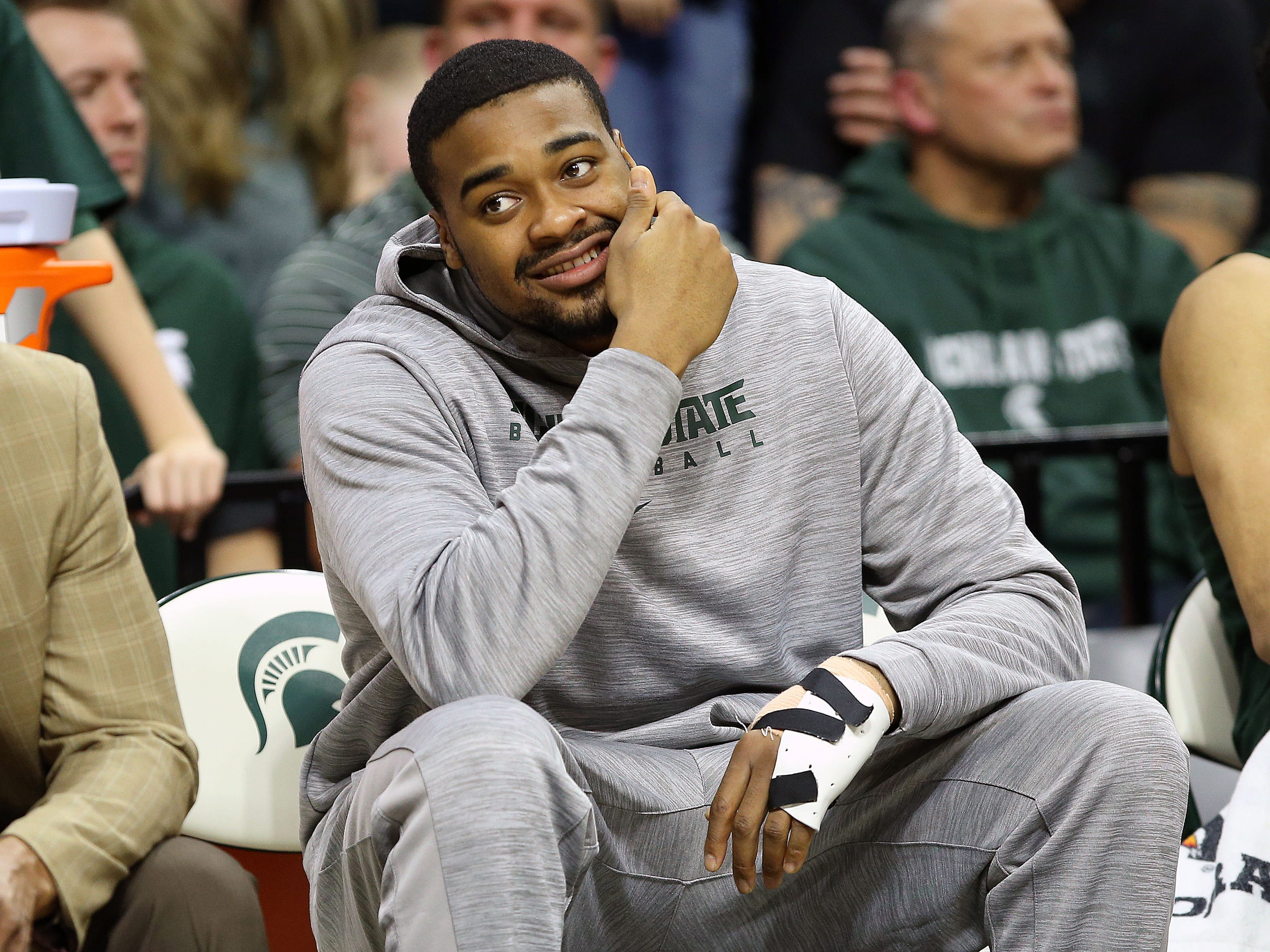 Mar 5, 2019; East Lansing, MI, USA; Michigan State Spartans forward Nick Ward (44) sits on the bench during the second half against the Nebraska Cornhuskers at the Breslin Center. Mandatory Credit: Mike Carter-USA TODAY Sports