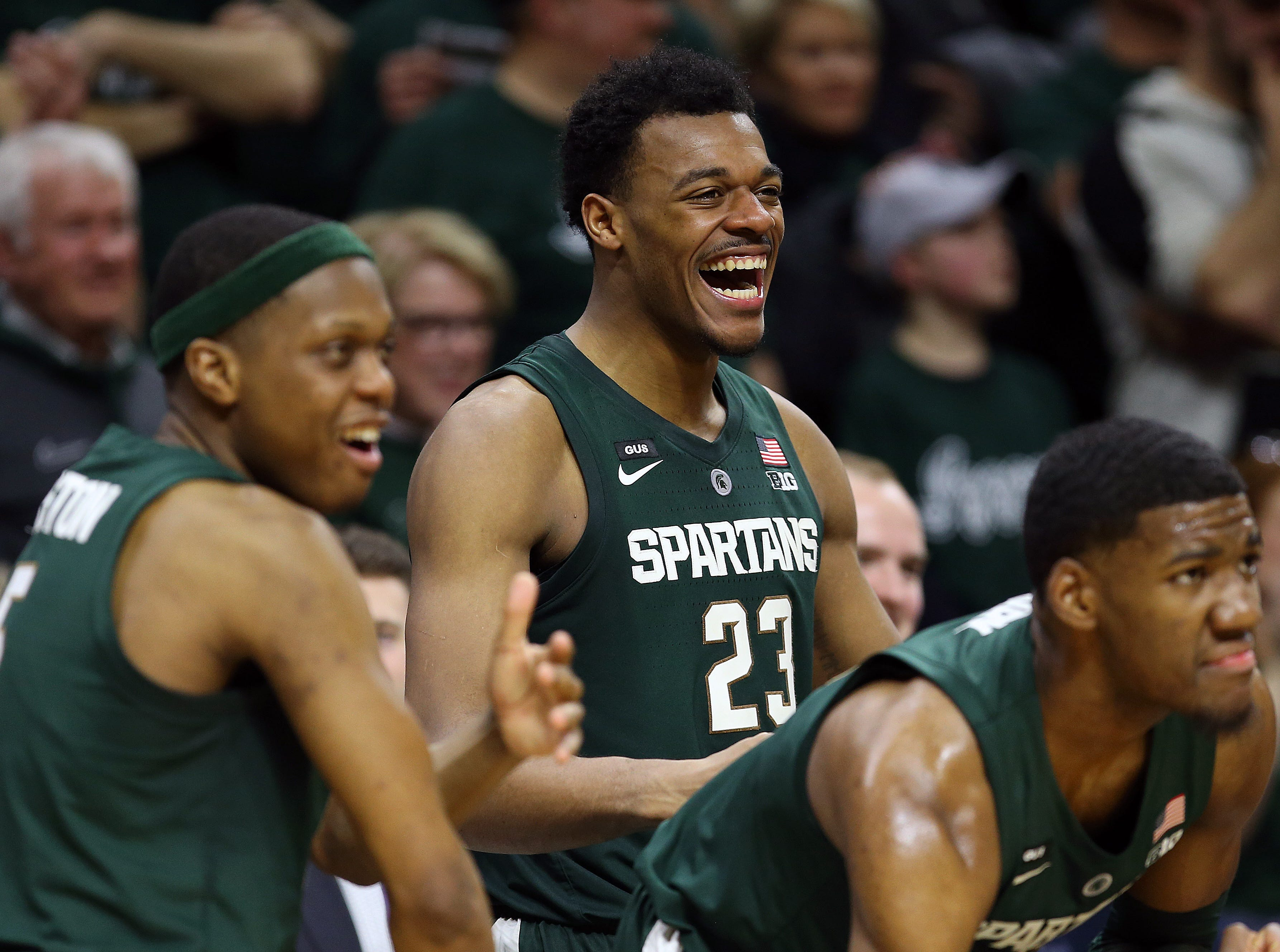 Mar 5, 2019; East Lansing, MI, USA; Michigan State Spartans forward Xavier Tillman (23) reacts from the bench during the second half against the Nebraska Cornhuskers at the Breslin Center. Mandatory Credit: Mike Carter-USA TODAY Sports