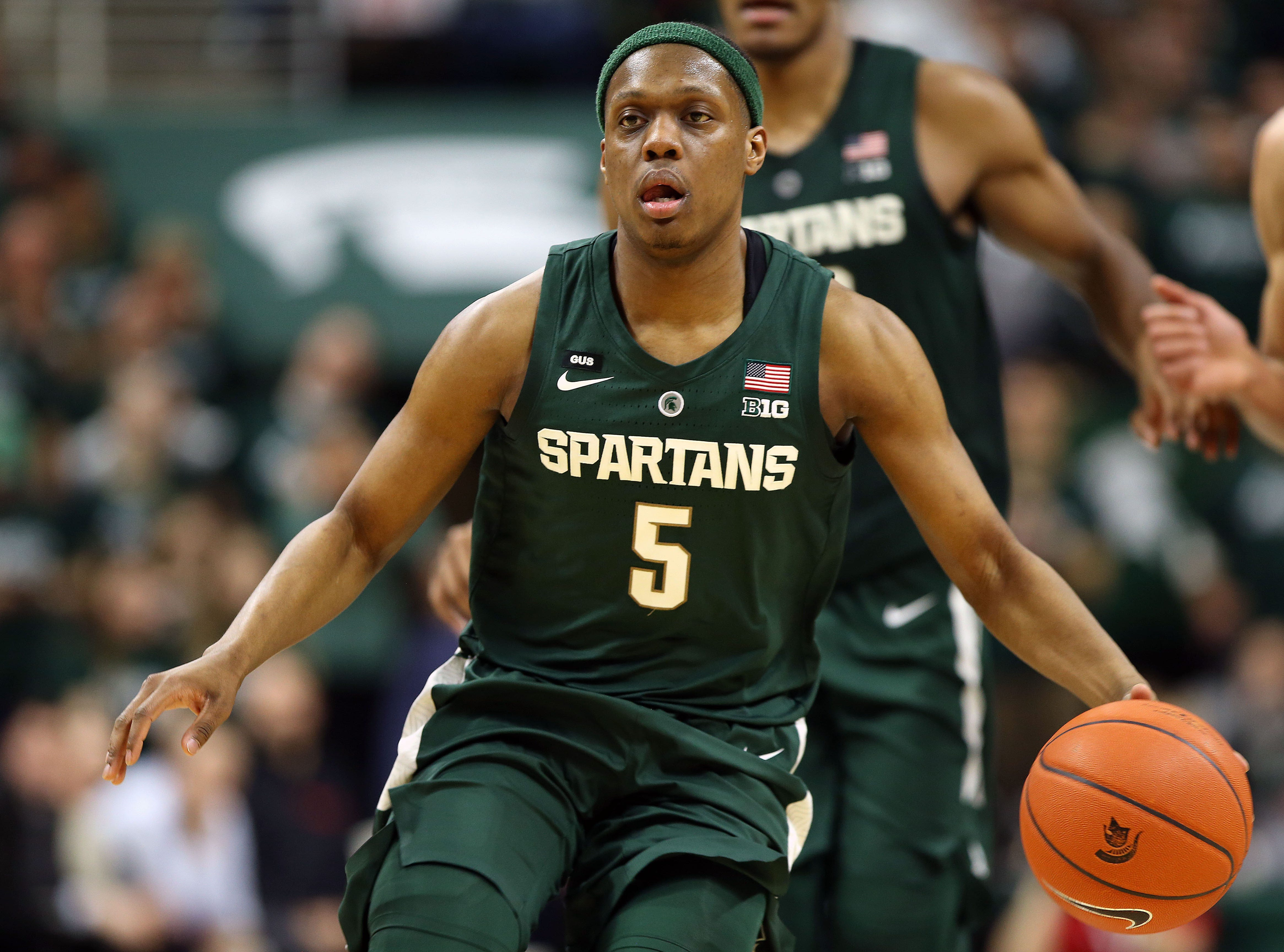 Mar 5, 2019; East Lansing, MI, USA; Michigan State Spartans guard Cassius Winston (5) brings the ball up court during the second half against the Nebraska Cornhuskers at the Breslin Center. Mandatory Credit: Mike Carter-USA TODAY Sports