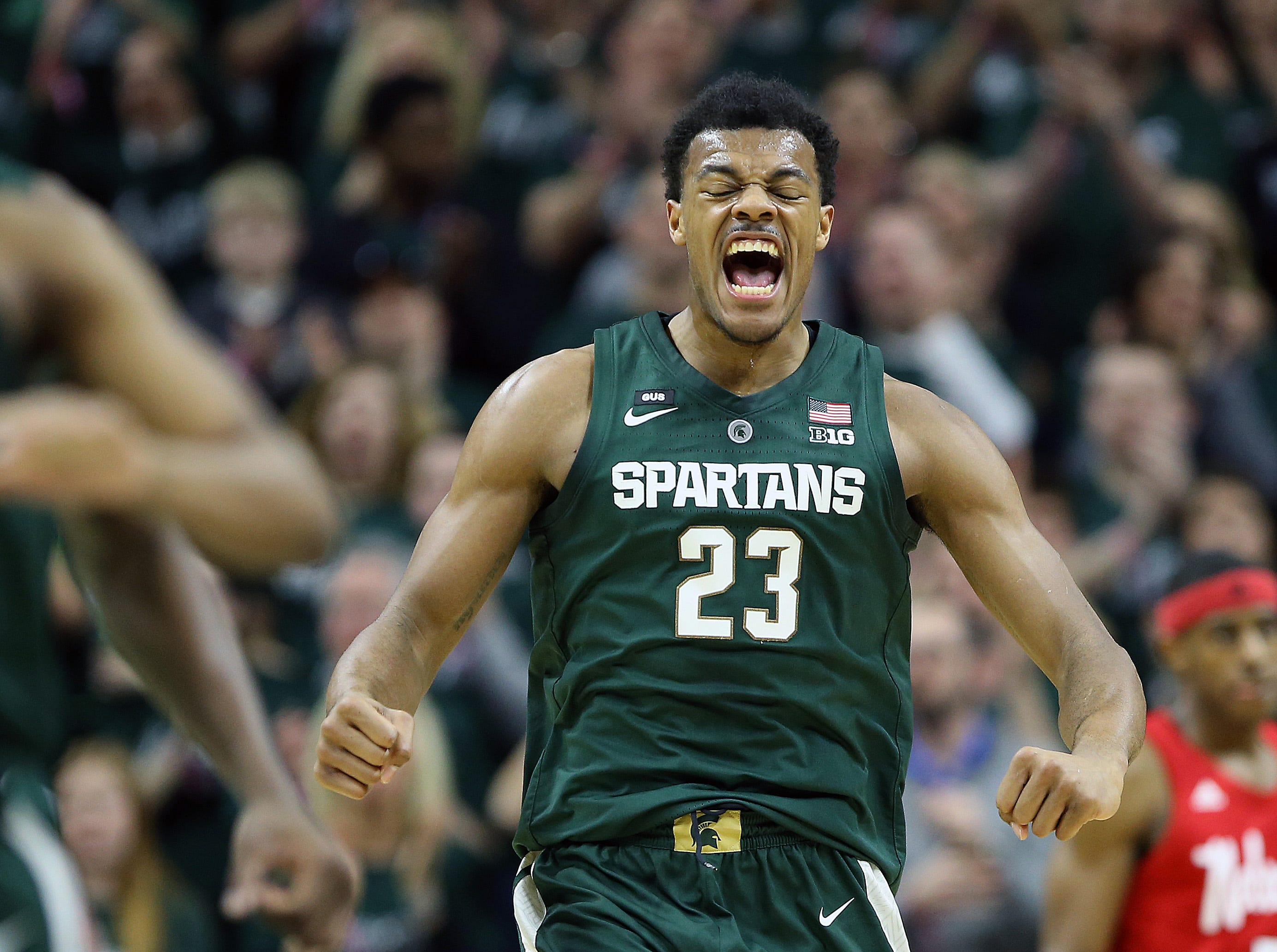 Mar 5, 2019; East Lansing, MI, USA; Michigan State Spartans forward Xavier Tillman (23) reacts during the first half of a game against the Nebraska Cornhuskers at the Breslin Center. Mandatory Credit: Mike Carter-USA TODAY Sports