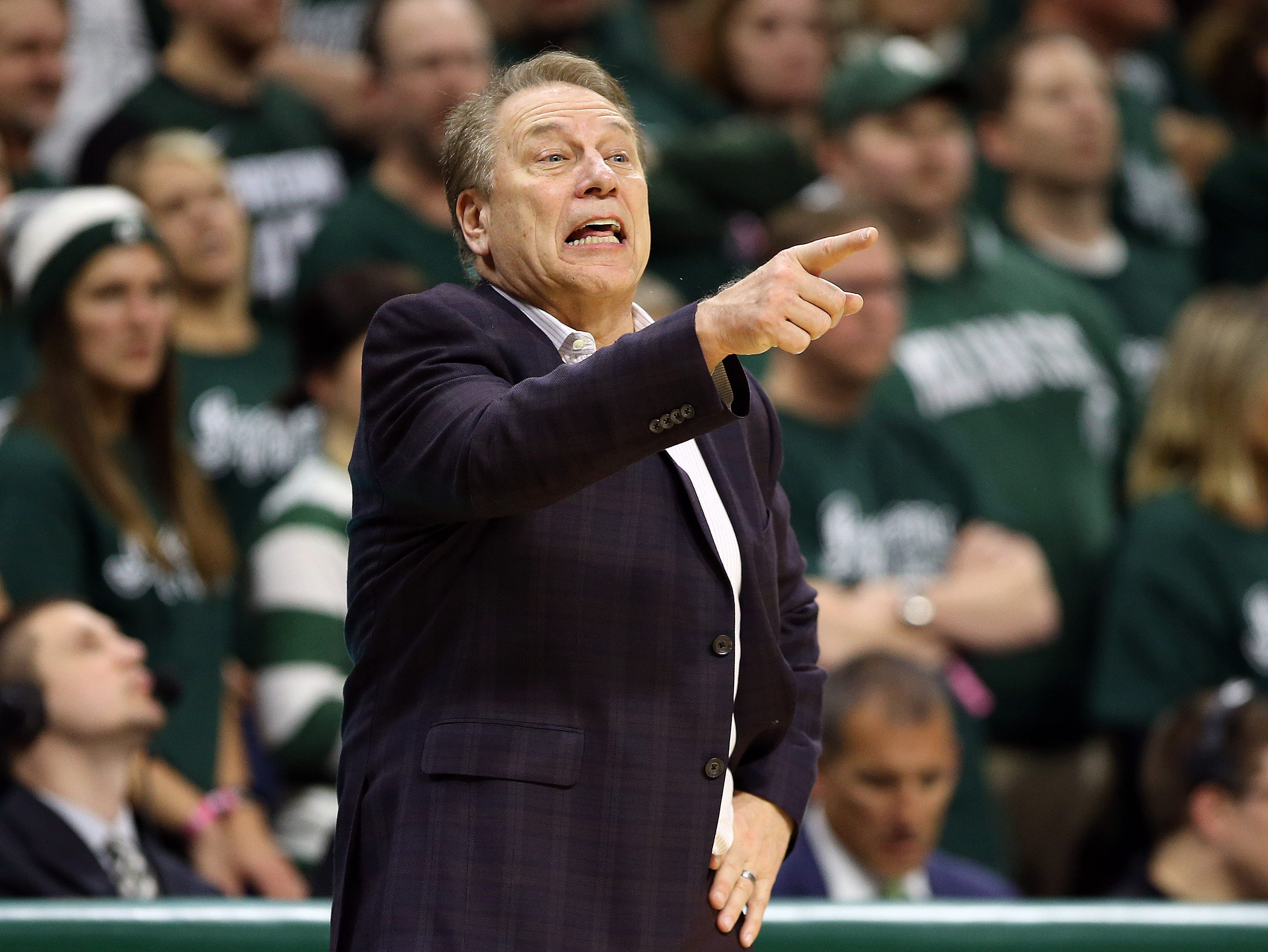 Mar 5, 2019; East Lansing, MI, USA; Michigan State Spartans head coach Tom Izzo gestures during the second half against the Nebraska Cornhuskers at the Breslin Center. Mandatory Credit: Mike Carter-USA TODAY Sports