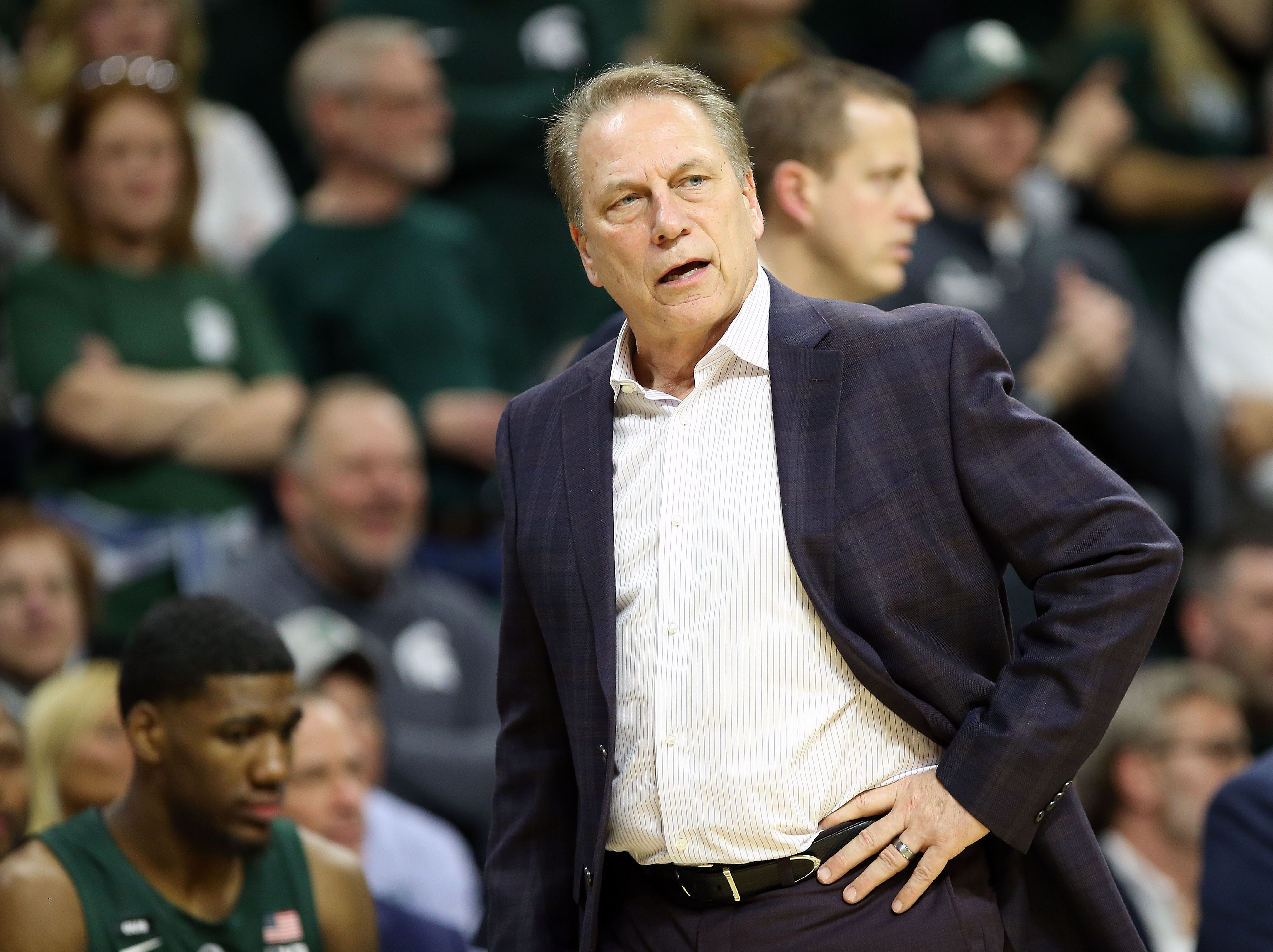 Mar 5, 2019; East Lansing, MI, USA; Michigan State Spartans head coach Tom Izzo reacts during the first half of a game against the Nebraska Cornhuskers at the Breslin Center. Mandatory Credit: Mike Carter-USA TODAY Sports