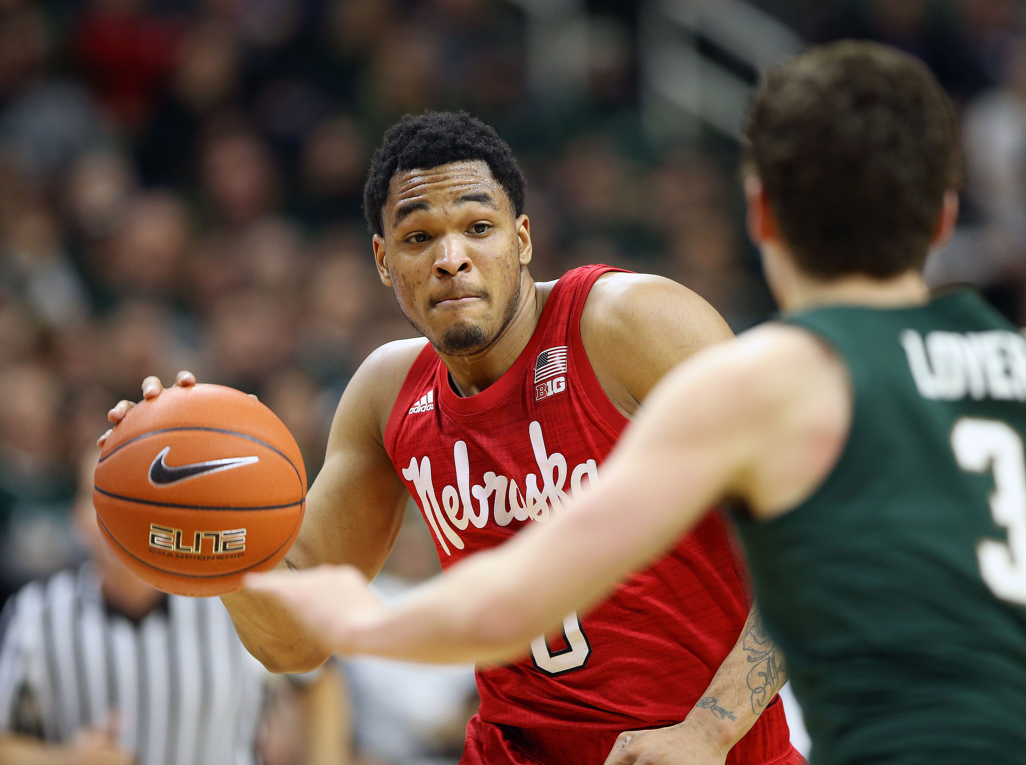 Mar 5, 2019; East Lansing, MI, USA; Nebraska Cornhuskers guard James Palmer Jr. (0) is defended by Michigan State Spartans guard Foster Loyer (3) during the first half of a game at the Breslin Center. Mandatory Credit: Mike Carter-USA TODAY Sports