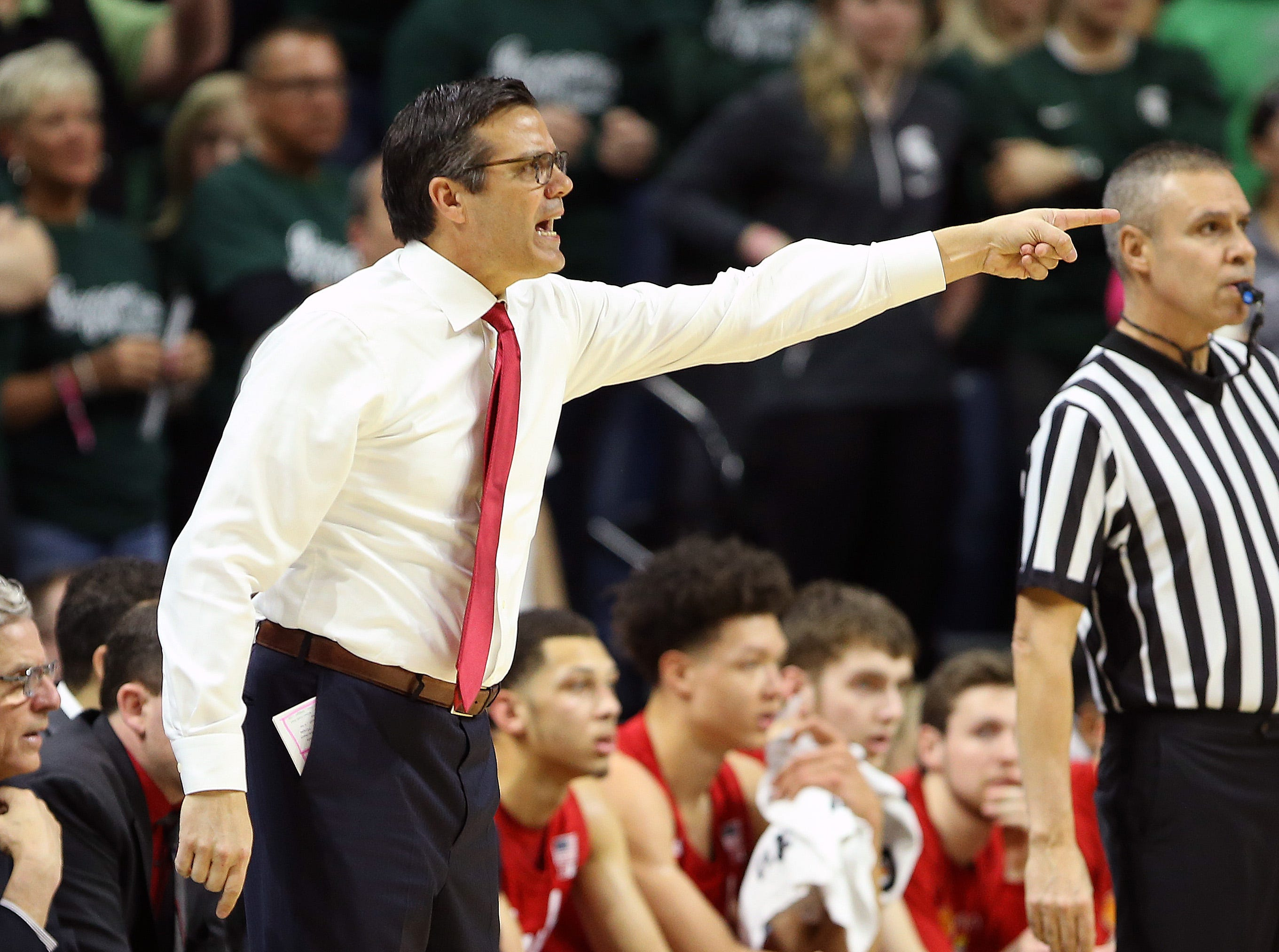 Mar 5, 2019; East Lansing, MI, USA; Nebraska Cornhuskers head coach Tim Miles reacts during the first half of a game against the Michigan State Spartans at the Breslin Center. Mandatory Credit: Mike Carter-USA TODAY Sports