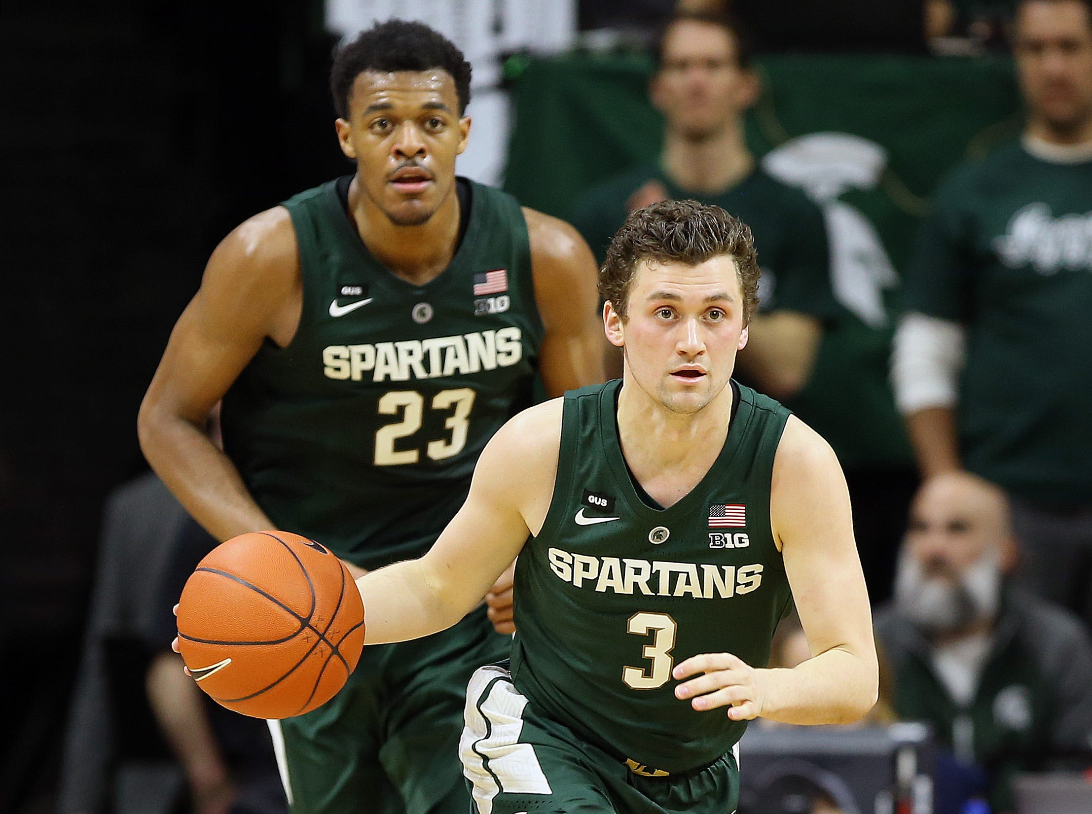 Mar 5, 2019; East Lansing, MI, USA; Michigan State Spartans guard Foster Loyer (3) brings the ball up court during the second half against the Nebraska Cornhuskers at the Breslin Center. Mandatory Credit: Mike Carter-USA TODAY Sports