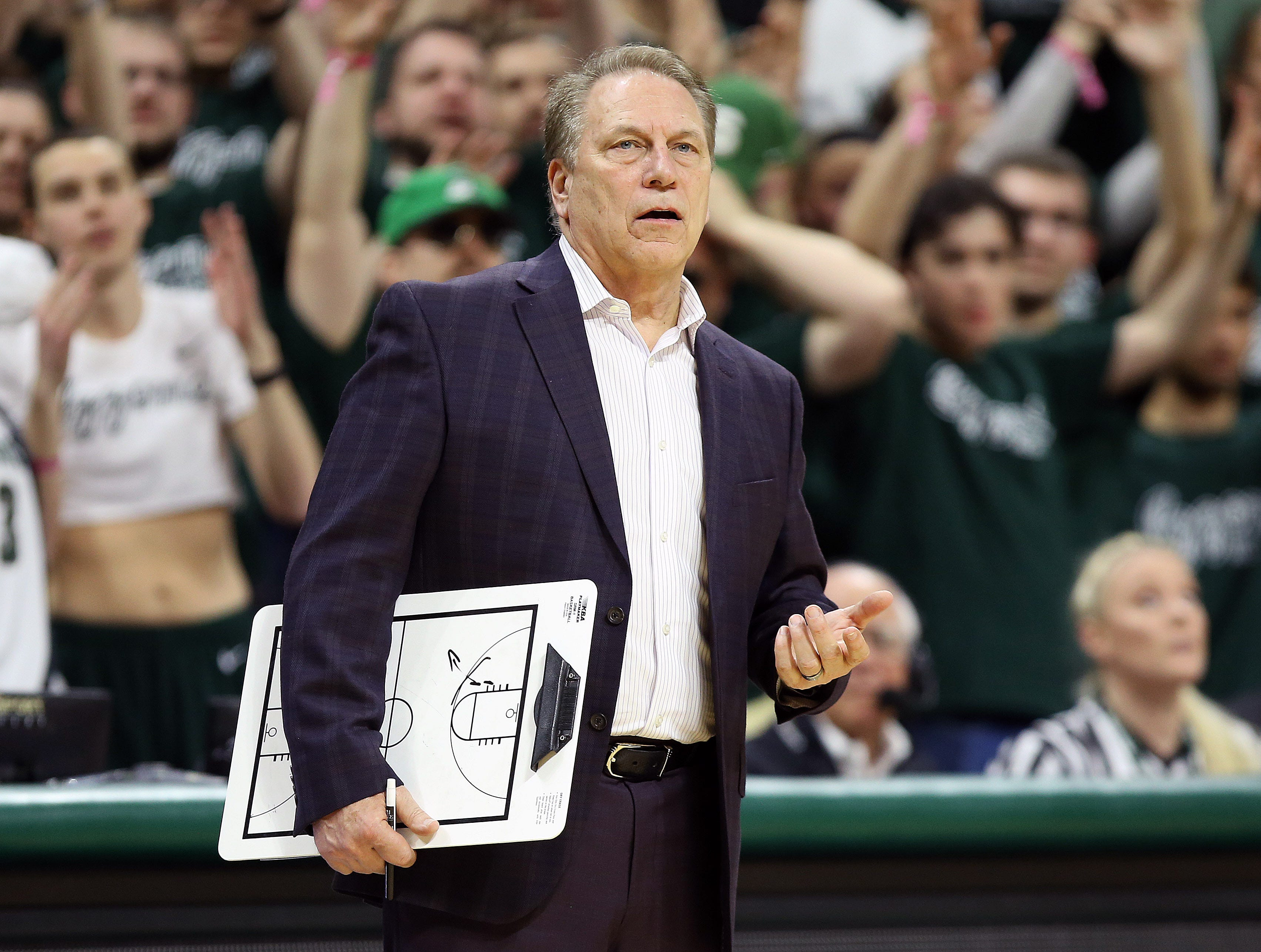 Mar 5, 2019; East Lansing, MI, USA; Michigan State Spartans head coach Tom Izzo reacts during the second half against the Nebraska Cornhuskers at the Breslin Center. Mandatory Credit: Mike Carter-USA TODAY Sports