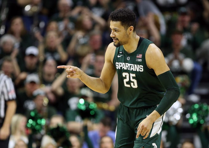 Mar 5, 2019; East Lansing, MI, USA; Michigan State Spartans forward Kenny Goins (25) reacts during the first half of a game against the Nebraska Cornhuskers at the Breslin Center. Mandatory Credit: Mike Carter-USA TODAY Sports