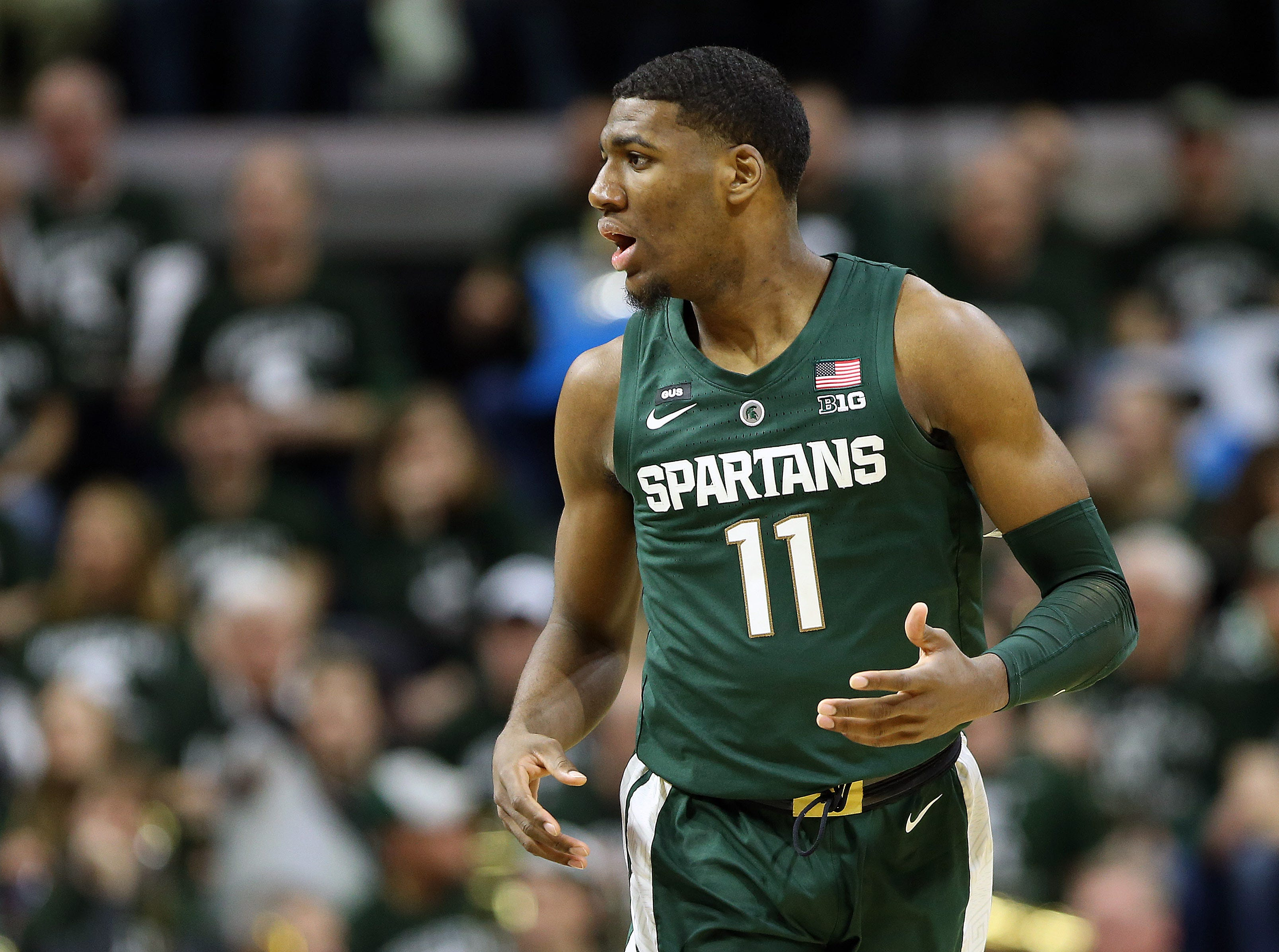Mar 5, 2019; East Lansing, MI, USA; Michigan State Spartans forward Aaron Henry (11) gestures during the second half against the Nebraska Cornhuskers at the Breslin Center. Mandatory Credit: Mike Carter-USA TODAY Sports