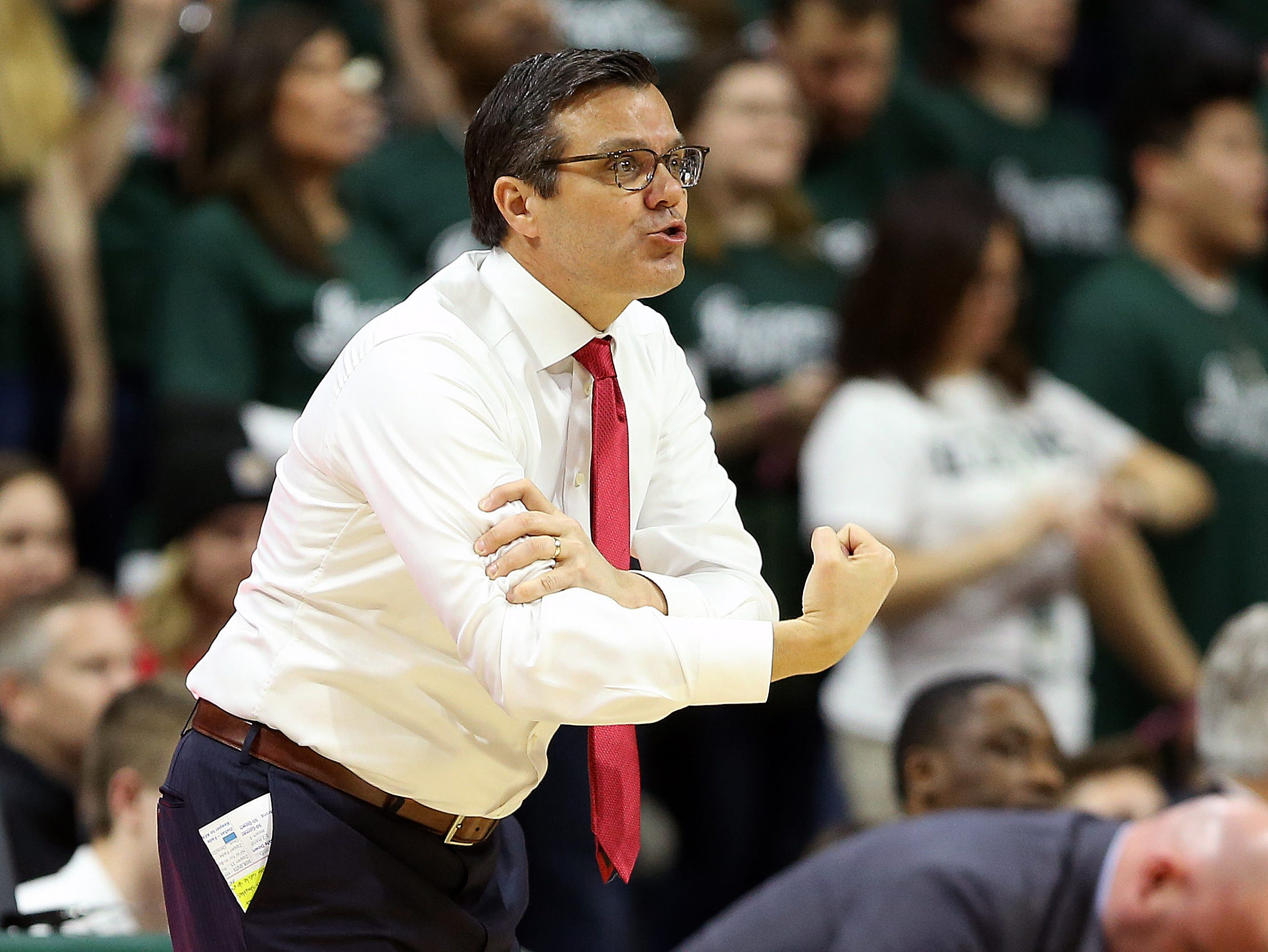 Mar 5, 2019; East Lansing, MI, USA; Nebraska Cornhuskers head coach Tim Miles gestures to his players during the second half against the Michigan State Spartans at the Breslin Center. Mandatory Credit: Mike Carter-USA TODAY Sports
