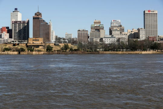 March 05, 2019 - A view of downtown Memphis during a Memphis Riverboats sightseeing cruise on Tuesday.