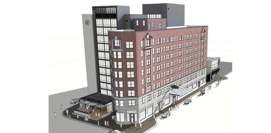 Rendering of what the future of what is now the Downtown DoubleTree hotel could look like.