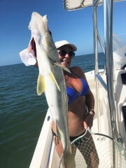 Melody Bare of Naples caught and released the 5' Snook off of Marco Island.