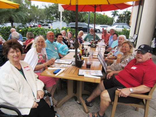 The Rhode Island Club held their February get together Feb. 27 at Mango's Dockside Bistro at the Esplanade, Marco Island. All enjoyed great food and conversation. Above: Sophie Furgasso, Joanne and Ed Santangini, Nancy Galucci, Gene D'Onofrio, Mary Carocci, Shirley and Jack Blewett, Jim Mullins, Pete and Todd Carocci, Tom and Beverly Carocci and Joe Furgasso and all smiles.