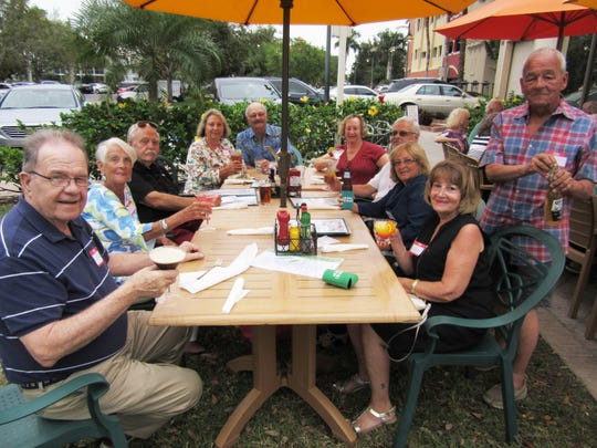 The Rhode Island Club held their February get together Feb. 27 at Mango's Dockside Bistro at the Esplanade, Marco Island. All enjoyed great food and conversation. Above: Ellen and Bob McElroy, Ray Capobianco, Karen Hamm and Tom Whewell, Pat Capobianco, Al Marchand and Ann Sepe, Fran and Frank Smith having a toast.