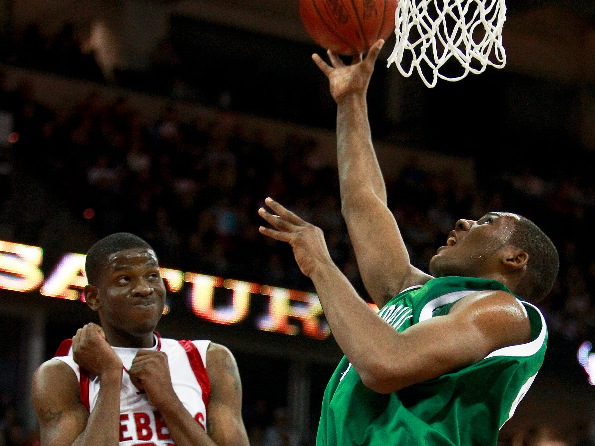 Racine Horlick's Jamil Wilson reacts after fouling Madison Memorial's Jeronne Maymon during the first half of the Division 1 championship basketball game at the WIAA state tournament Saturday, March 21, 2009, in Madison, Wis.