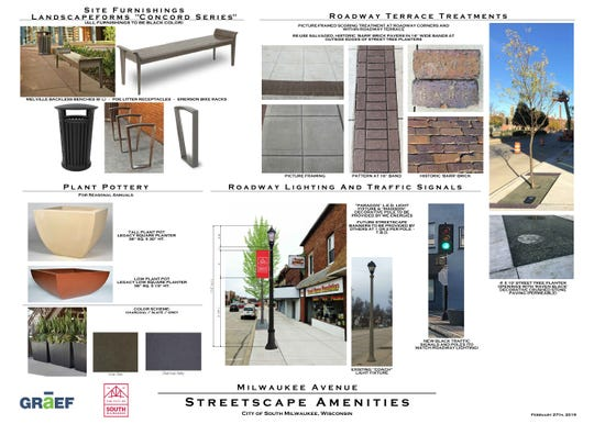 Here are a few of the elements to be used for the South Milwaukee streetscaping project. Construction is expected to start in August.