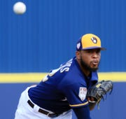 In his first outing of the spring, Brewers reliever Jeremy Jeffress left the game against the Diamondbacks after just three pitches due to a concern over the lack of velocity on his fastball.