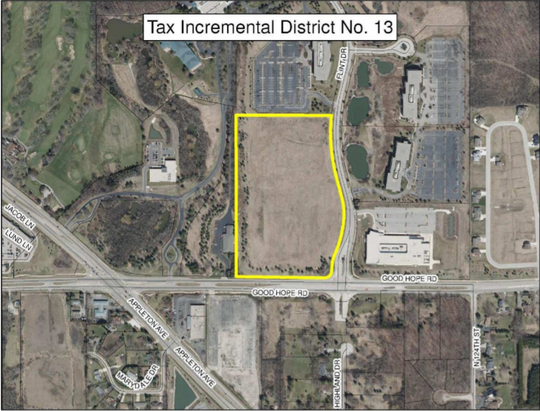 The newly-approved TIF district, highlighted in yellow, sits along Good Hope Road and Flint Drive. Defense contractor Leonardo DRS Inc. will relocate there from Milwaukee.