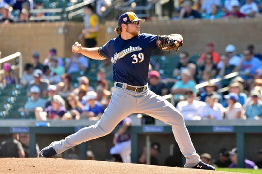 Mar 5, 2019; Salt River Pima-Maricopa, AZ, USA; Milwaukee Brewers starting pitcher Corbin Burnes (39) throws during the first inning against the Colorado Rockies at Salt River Fields at Talking Stick. Mandatory Credit: Matt Kartozian-USA TODAY Sports