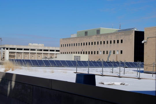 Solar panels installed in 2009 supply energy to the Milwaukee Central Library.