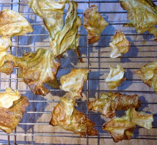 Turning cabbage leaves into crispy chips takes 60 to 90 minutes in the oven.