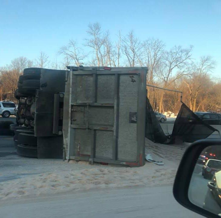 Route 80 west in Denville reopened after overturned dump truck blocks lanes