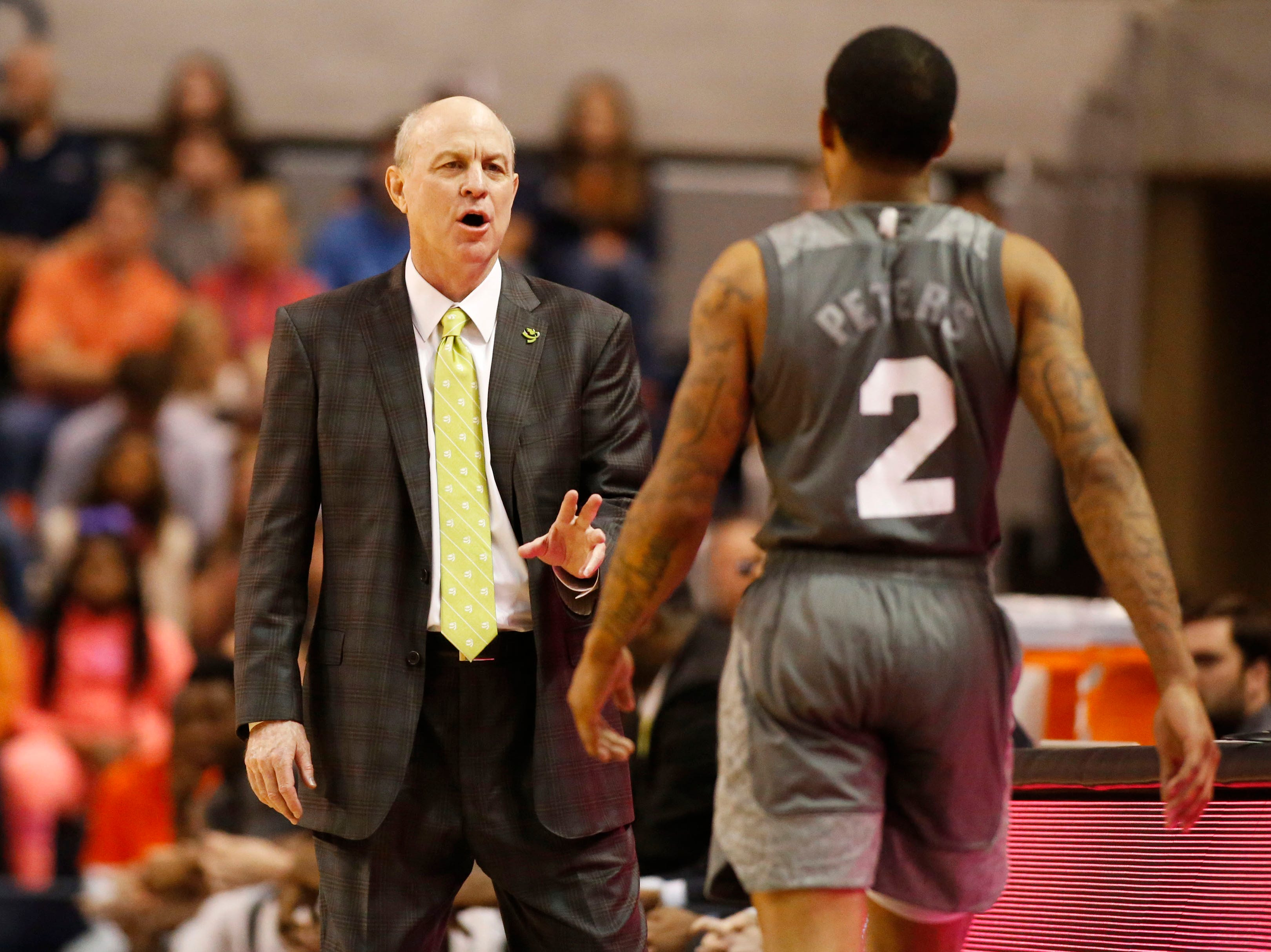 Mar 2, 2019; Auburn, AL, USA; Mississippi State Bulldogs head coach Ben Howland talks to guard Lamar Peters (2) during the second half against the Auburn Tigers at Auburn Arena. Mandatory Credit: John Reed-USA TODAY Sports