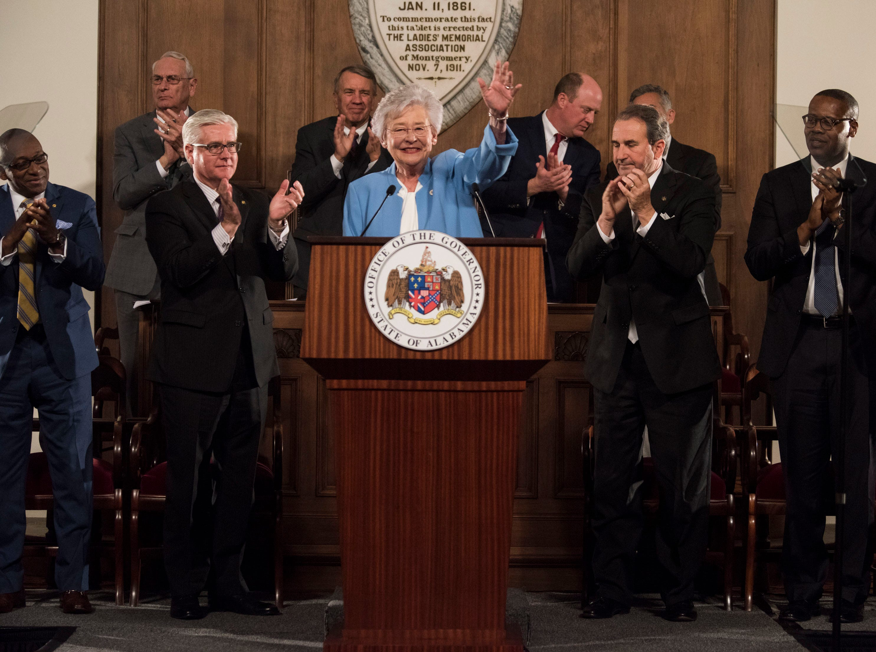 Gov. Kay Ivey delivers the State of the State address inside the old house chambers at the Alabama State Capitol in Montgomery, Ala., on Tuesday, March 5, 2019.
