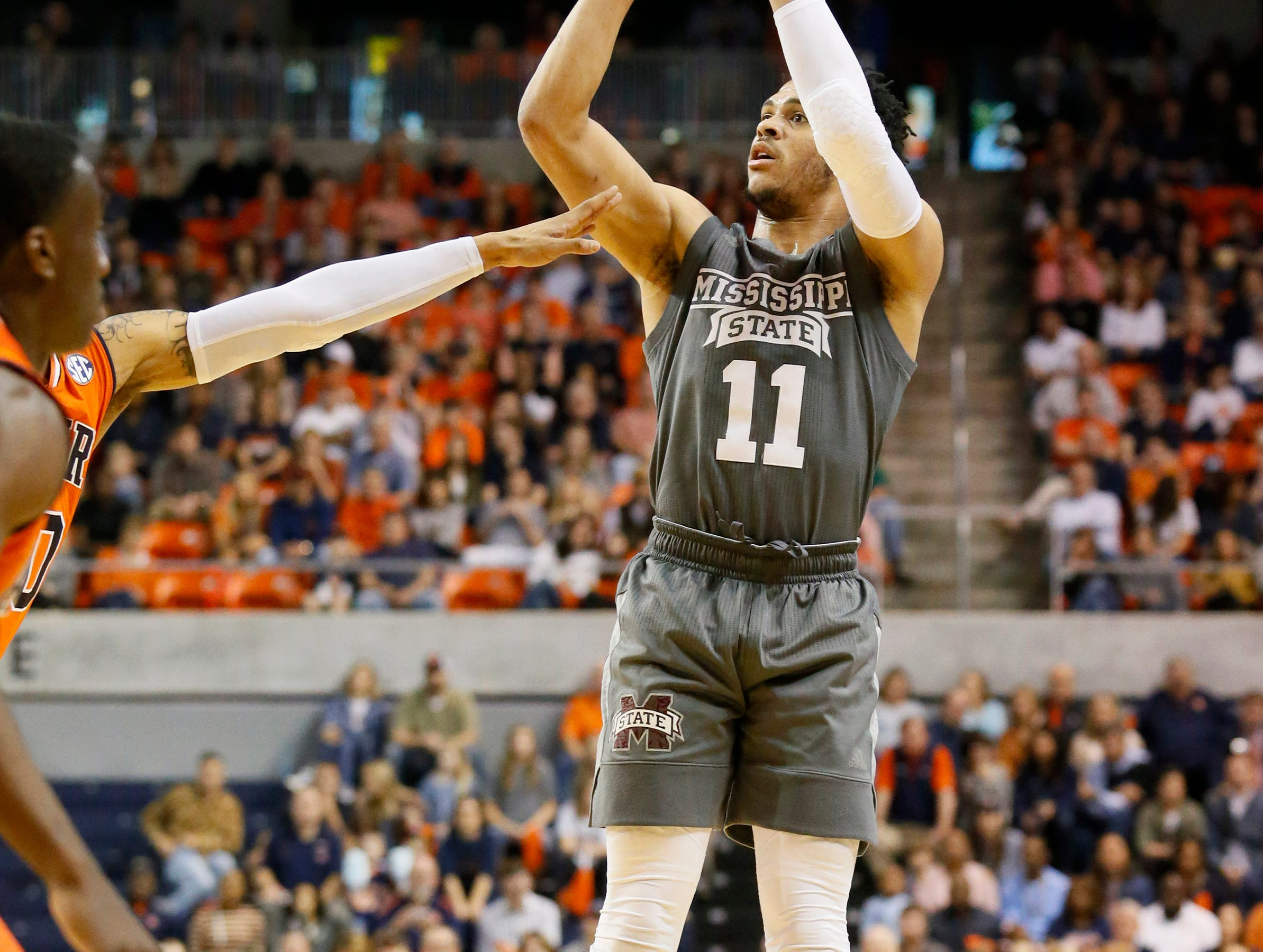 Mar 2, 2019; Auburn, AL, USA; Mississippi State Bulldogs guard Quinndary Weatherspoon (11) takes a shot against the Auburn Tigers during the first half at Auburn Arena. Mandatory Credit: John Reed-USA TODAY Sports