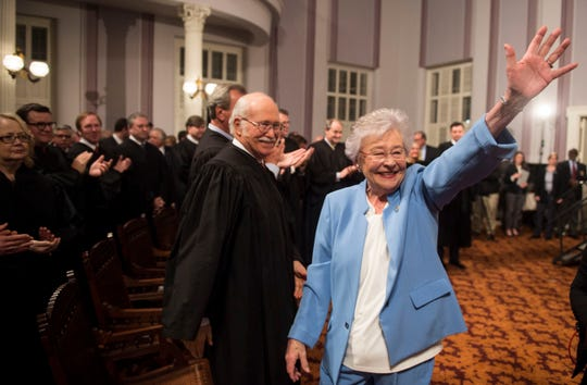 Gov. Kay Ivey exits the room after delivering the State of the State address inside the old house chambers at the Alabama State Capitol in Montgomery, Ala., on Tuesday, March 5, 2019.