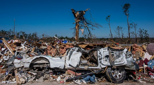 Tornado damage in Beauregard, Ala., on Wednesday March 6, 2019. A fatal tornado struck Beauregard on Sunday afternoon.
