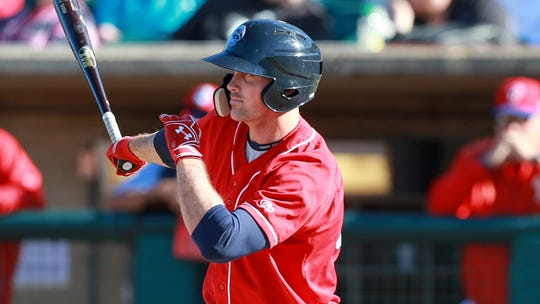 Cord Sandberg bats for the Lakewood Blue Claws in 2015.