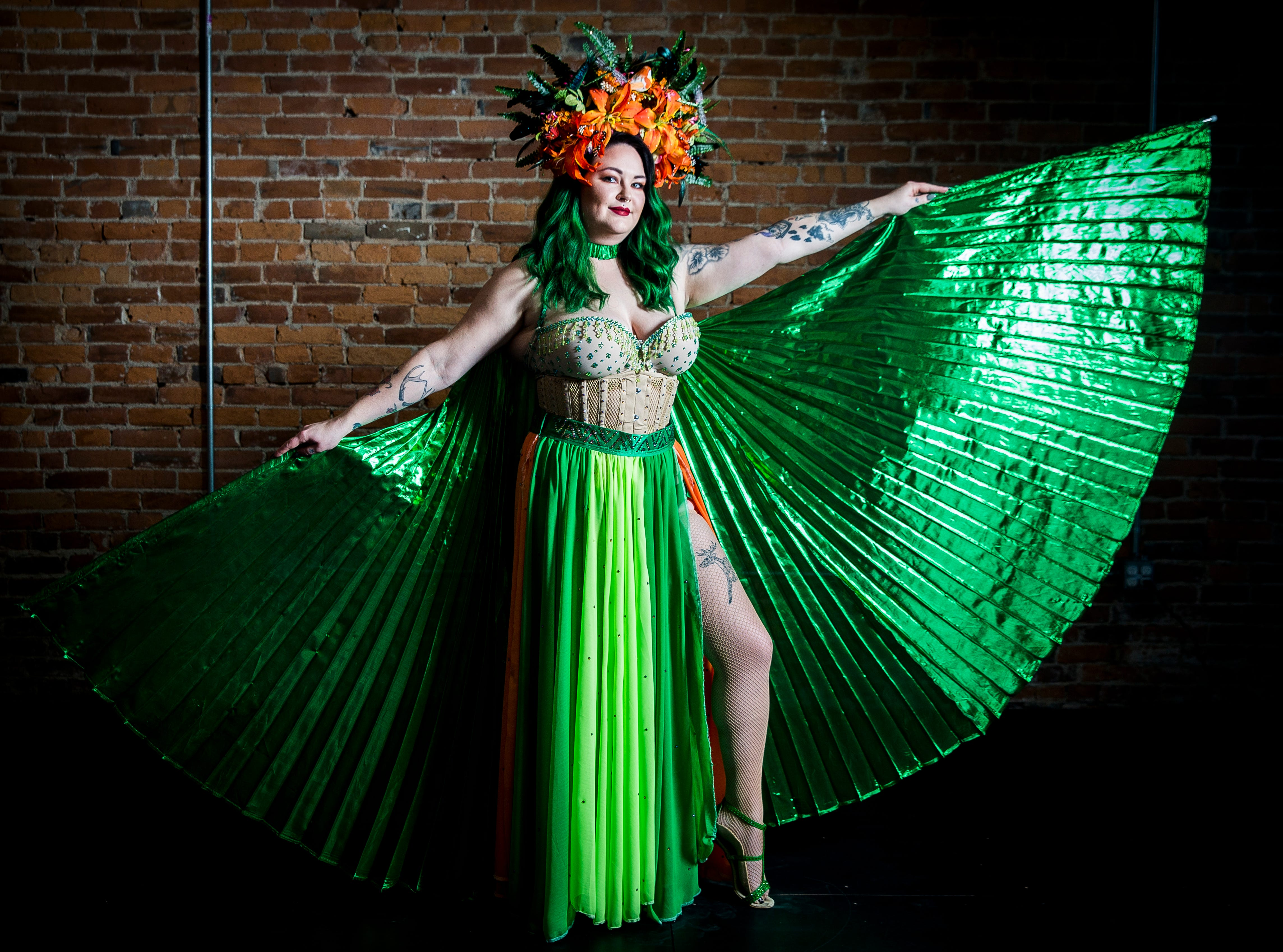 Fabulous Funcie Femmes performer Bettie Nuggs in and out of character.