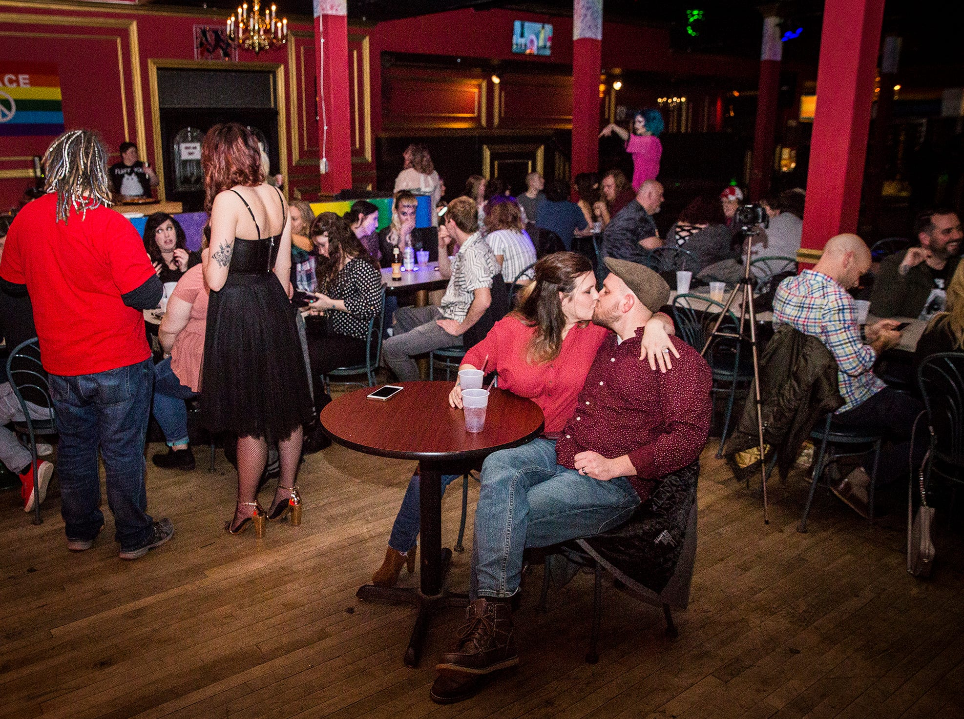 A crowd waits for the start of the Fabulous Funcie Femmes burlesque show at the Mark III Taproom.