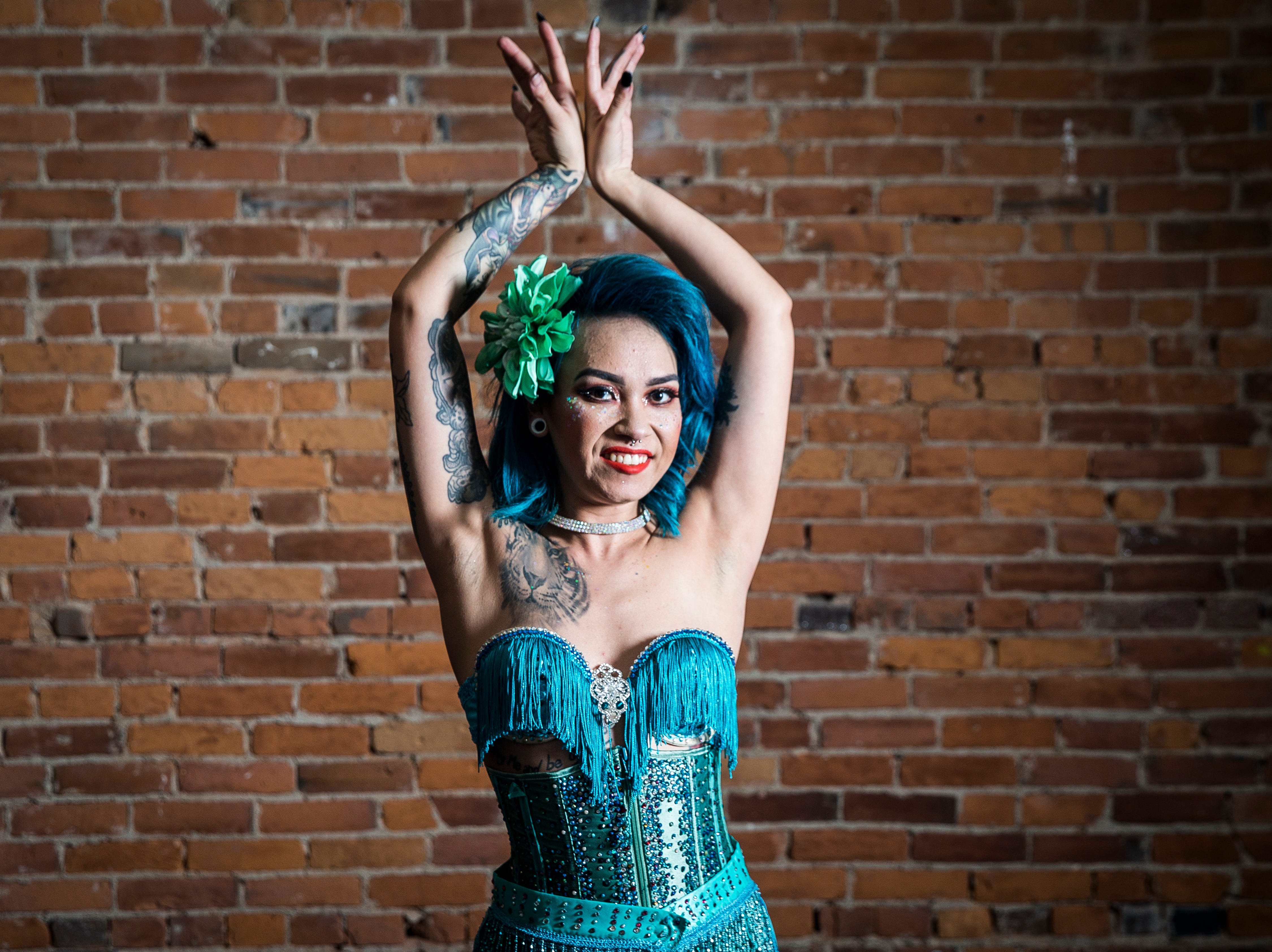 Fabulous Funcie Femmes performer Greta Glee in and out of character.