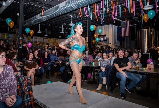 Greta Glee performs a burlesque routine at The Guardian.