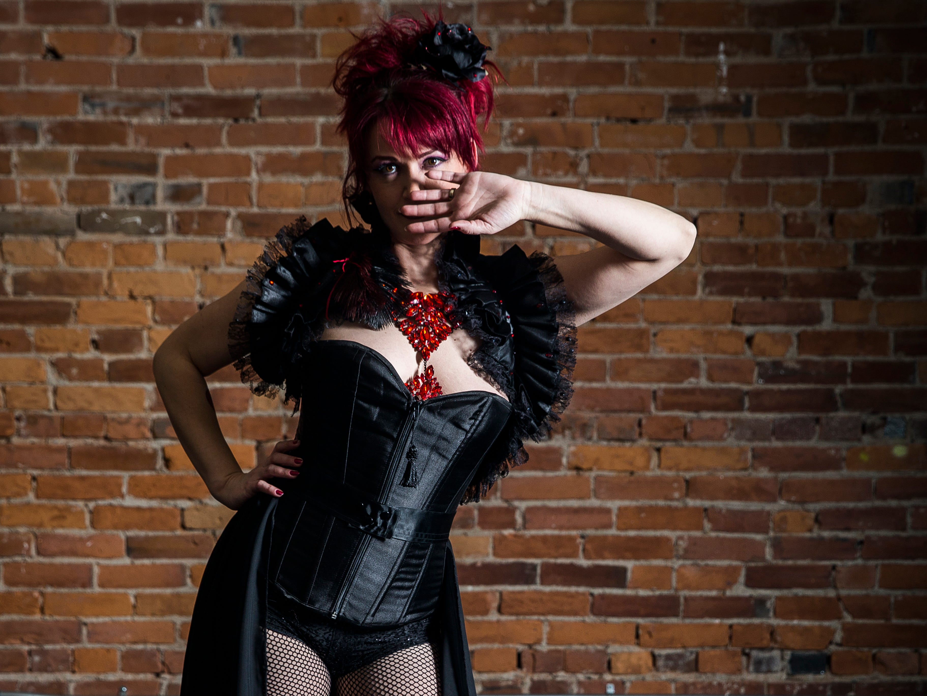 Fabulous Funcie Femmes performer Jamie Prang in and out of character.