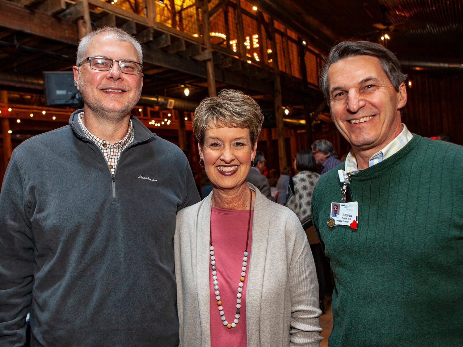 Jason and Jennifer Walker with Dr. Andrew Daigle at the second night of Bluebird in the Boro, held March 4-6, 2019. A benefit for Alive Hospice, the event was held at The Grove at Williamson Place in Murfreesboro.
