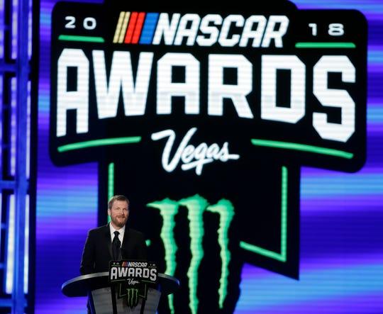 Dale Earnhardt Jr. speaks during the NASCAR auto racing awards ceremony Thursday, Nov. 29, 2018, in Las Vegas.