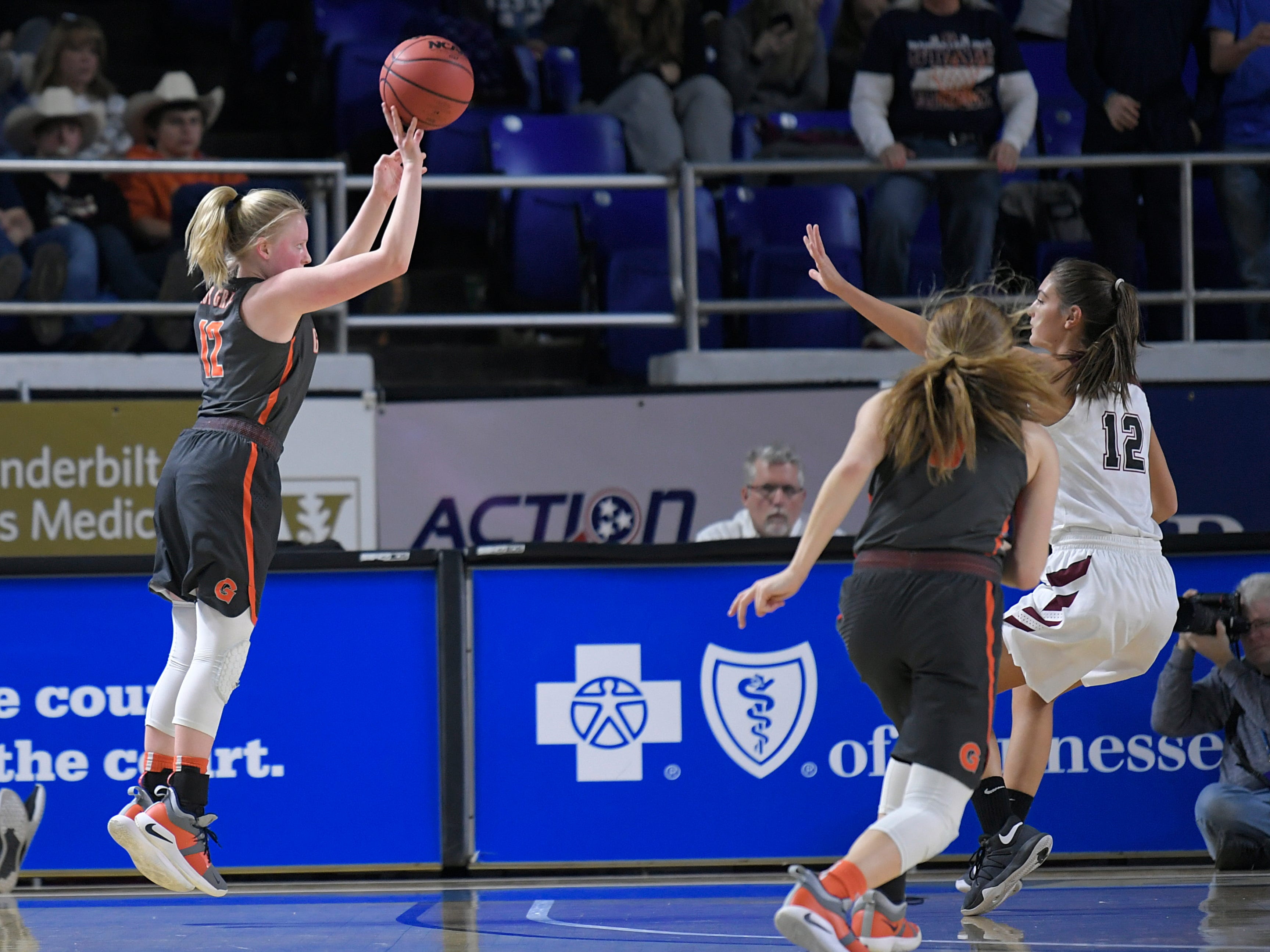 Grainger's Isabelle Stratton hits a three-pointer against Cheatham County during the quarterfinals of TSSAA BlueCross Class AA girls basketball championship at MTSU's Murphy Center in Murfreesboro on Wednesday, March 6, 2019.