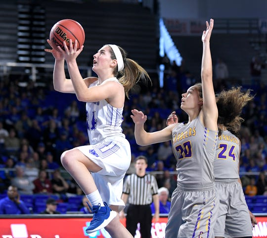 Macon County's Keeley Carter (24) scores against Covington during Wednesday's Class AA quarterfinals at MTSU's Murphy Center.