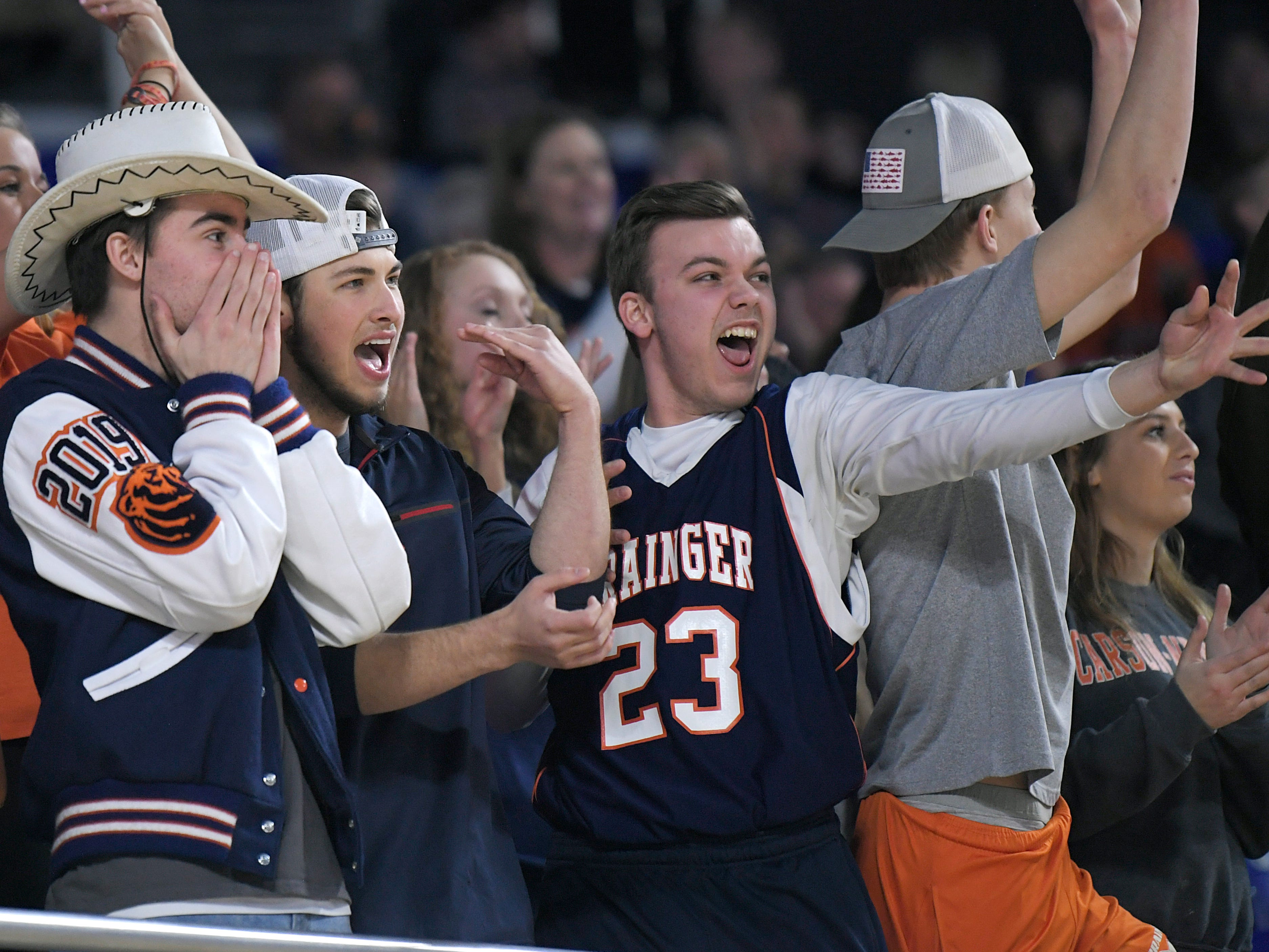 Grainger fans cheer for their team during the quarter final game against Cheatham Countyat the TSSAA BlueCross Class AA girls basketball championship at MTSU's Murphy Center in Murfreesboro on Wednesday, March 6, 2019.